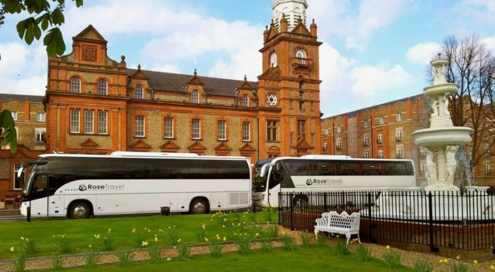 Two of Rose Travels large Touring bus & coaches Travelling in Dublin Ireland